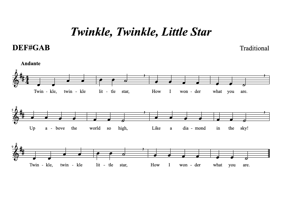 picture image of music score for twinkle twinkle little